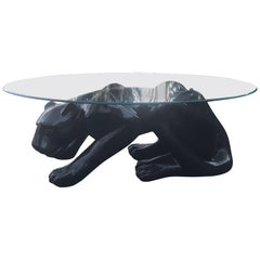 Dramatic Ceramic Black Panther Coffee Table or Sculpture