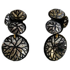 Dramatic Contemporary Black Metallic Silver Disk Statement Earrings