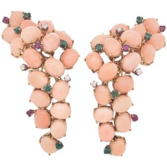 Dramatic Coral Ruby, Diamond and Emerald 1960s Dangle Earrings