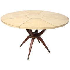 Dramatic Dining Table in Goatskin Mahogany and Brass Mexican Modernism, 1950s