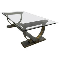 Dramatic Dining Table Mixed Metal Solid Steel & Bronze Arturo Pani Mexico, 1960s