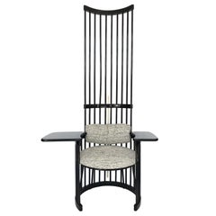 Dramatic High Back Black Lacquered Spindle Writing Chair