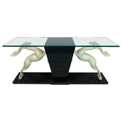 Dramatic Italian 1980s Deer Motif Lacquer and Glass Console Table