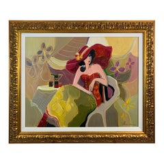 Dramatic Lady in Red Painting by Isaac Maimon