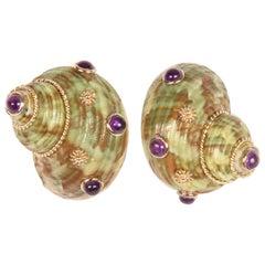MAZ Shell and Amethyst Earrings