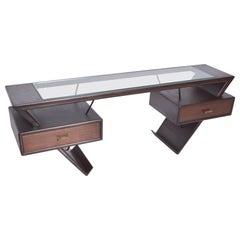 Dramatic Mexican Mahogany Desk Bold Vanity Eugenio Escudero Floating Modernism