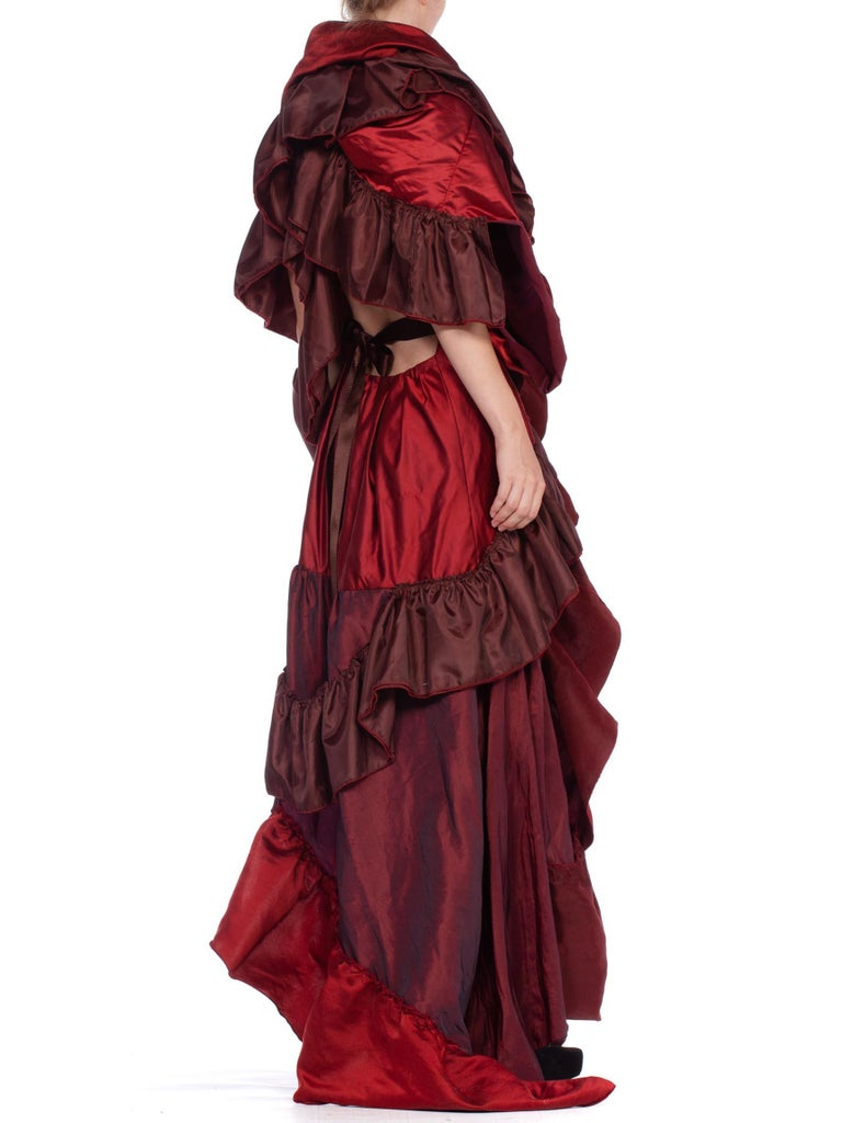 Dramatic Morphew Collection Silk & Rayon Red Backless Ruffle Gown For Sale 7