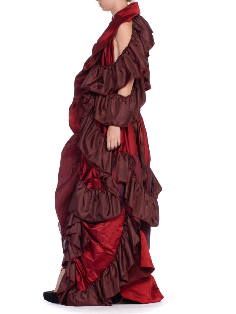 Women's Dramatic Morphew Collection Silk & Rayon Red Backless Ruffle Gown For Sale