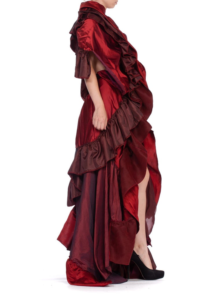 Dramatic Morphew Collection Silk & Rayon Red Backless Ruffle Gown For Sale 1