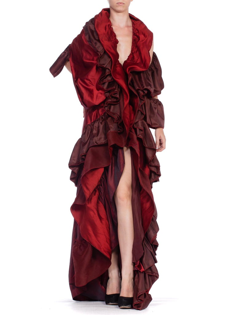 Dramatic Morphew Collection Silk & Rayon Red Backless Ruffle Gown For Sale 4