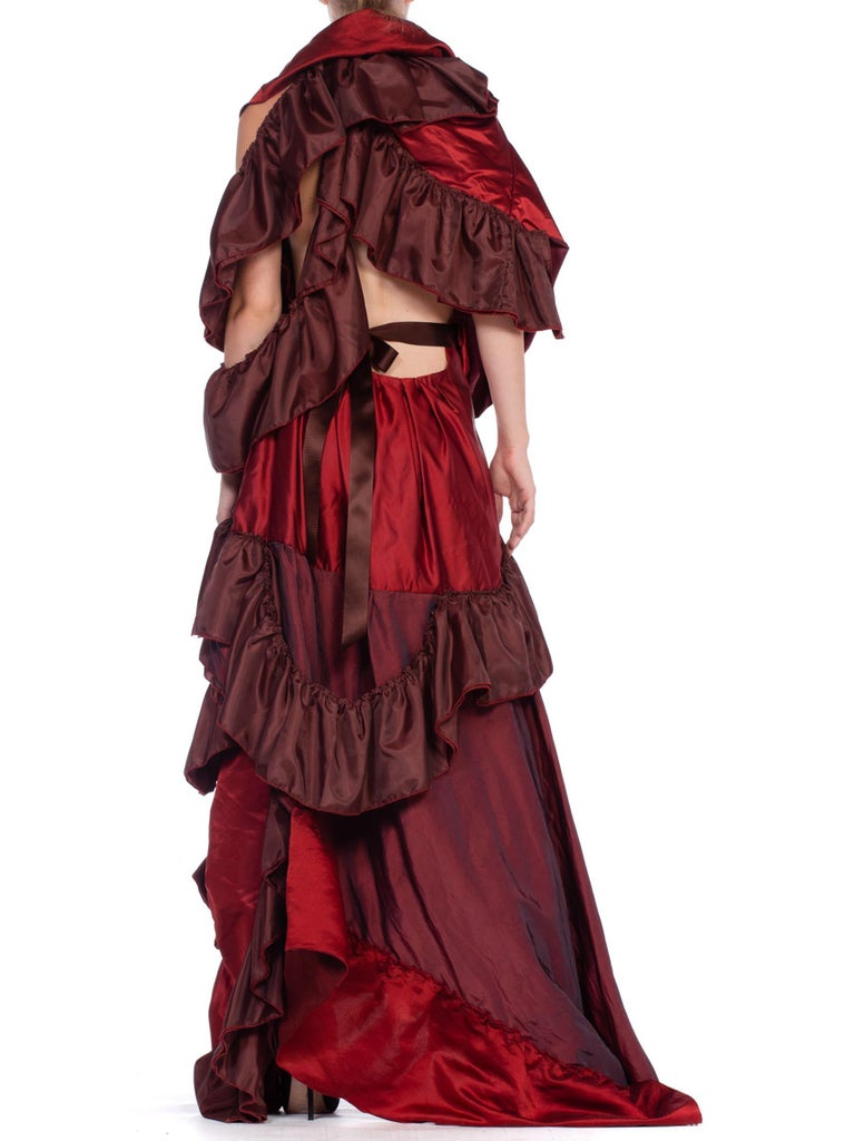 Dramatic Morphew Collection Silk & Rayon Red Backless Ruffle Gown For Sale 5