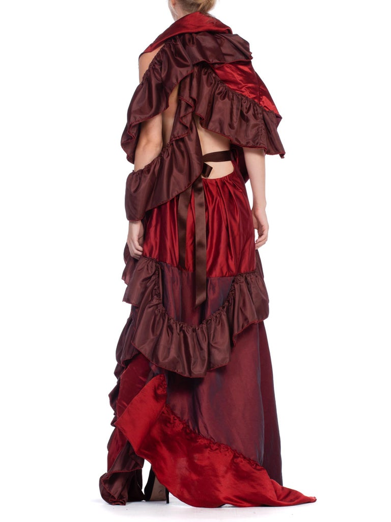 Dramatic Morphew Collection Silk & Rayon Red Backless Ruffle Gown For Sale 6