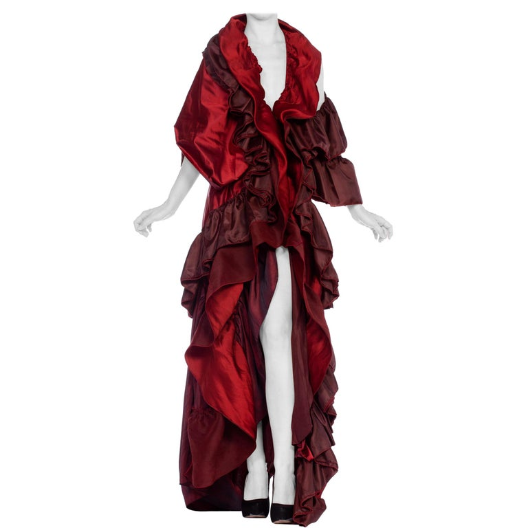 Dramatic Morphew Collection Silk & Rayon Red Backless Ruffle Gown For Sale