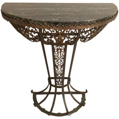 Dramatic Oscar Bach Iron and Black Marble Demilune Console Table