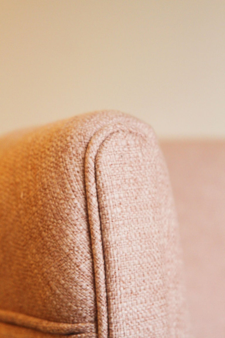 Dramatic Pair of Newly Upholstered Blush Pink Lounge Chairs For Sale 4