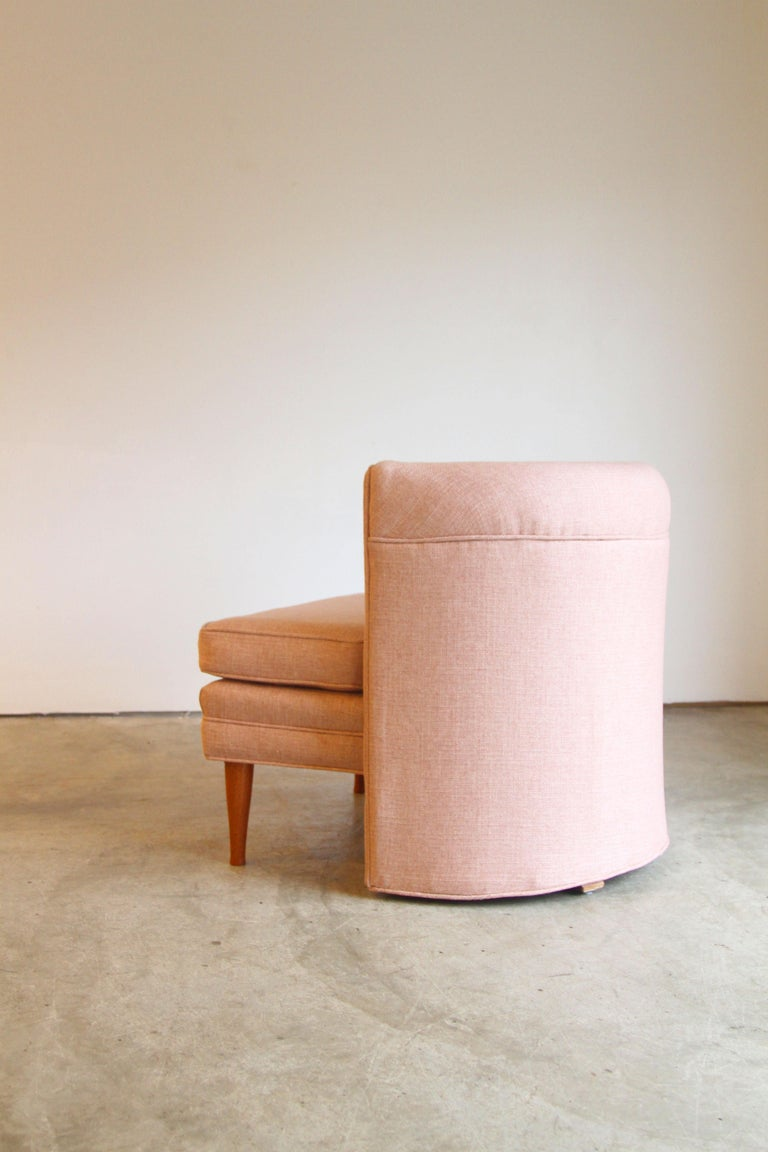 Dramatic Pair of Newly Upholstered Blush Pink Lounge Chairs For Sale 6