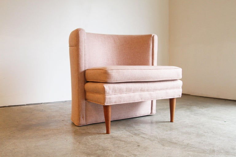 Mid-Century Modern Dramatic Pair of Newly Upholstered Blush Pink Lounge Chairs For Sale