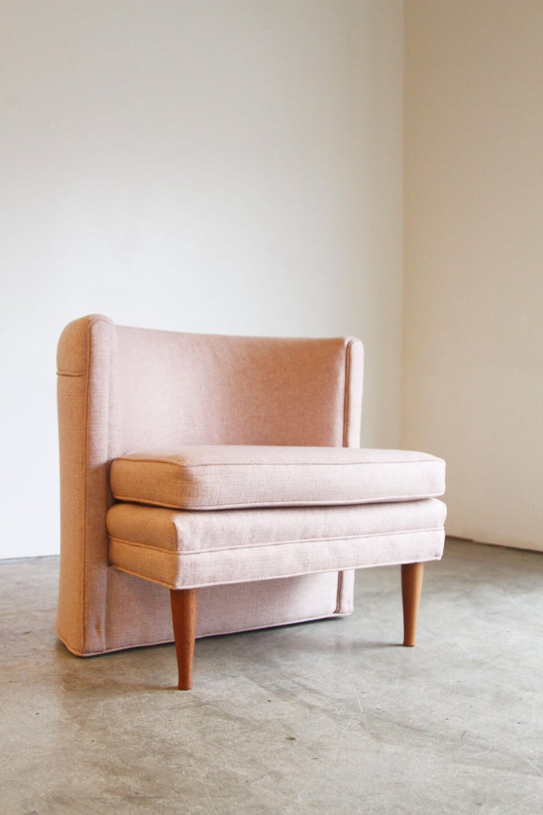 Dramatic Pair of Newly Upholstered Blush Pink Lounge Chairs In Good Condition For Sale In St. Louis, MO