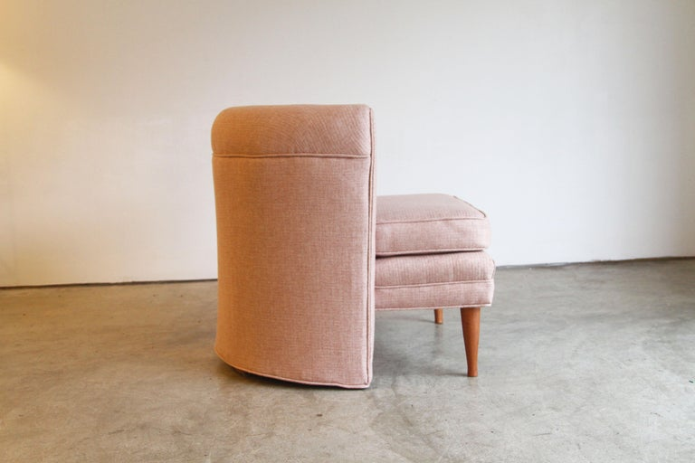 20th Century Dramatic Pair of Newly Upholstered Blush Pink Lounge Chairs For Sale