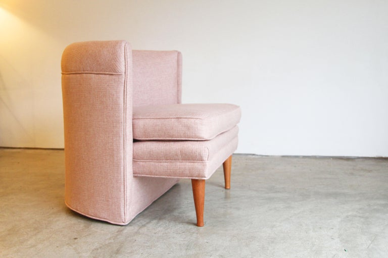 Cotton Dramatic Pair of Newly Upholstered Blush Pink Lounge Chairs For Sale