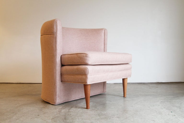 Dramatic Pair of Newly Upholstered Blush Pink Lounge Chairs For Sale 1