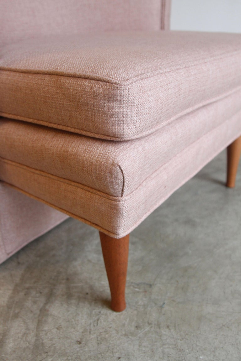 Dramatic Pair of Newly Upholstered Blush Pink Lounge Chairs For Sale 2