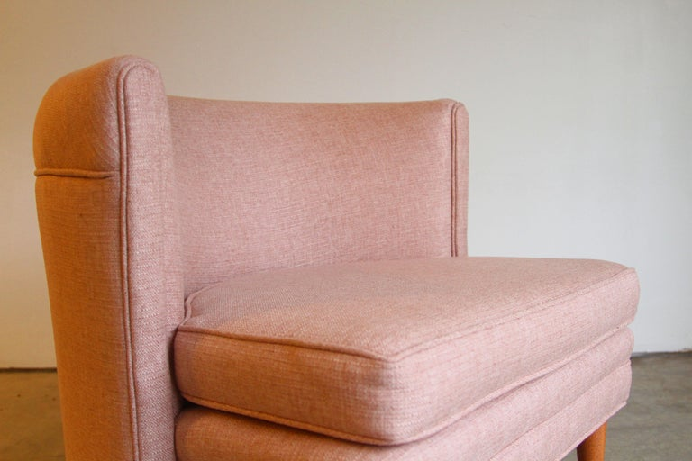 Dramatic Pair of Newly Upholstered Blush Pink Lounge Chairs For Sale 3