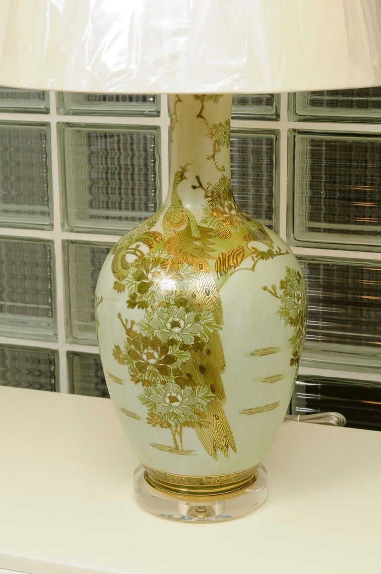 Dramatic Pair of Hand Painted Asian Lamps by Marbro, circa 1960 For Sale 3