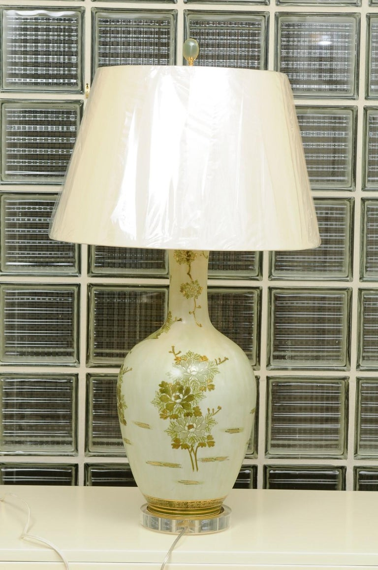 Dramatic Pair of Hand Painted Asian Lamps by Marbro, circa 1960 For Sale 5