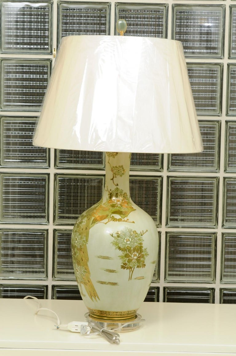 Dramatic Pair of Hand Painted Asian Lamps by Marbro, circa 1960 For Sale 7