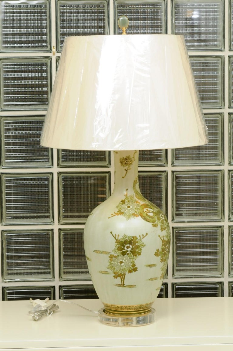 Hand-Painted Dramatic Pair of Hand Painted Asian Lamps by Marbro, circa 1960 For Sale