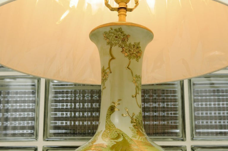 Dramatic Pair of Hand Painted Asian Lamps by Marbro, circa 1960 In Excellent Condition For Sale In Atlanta, GA