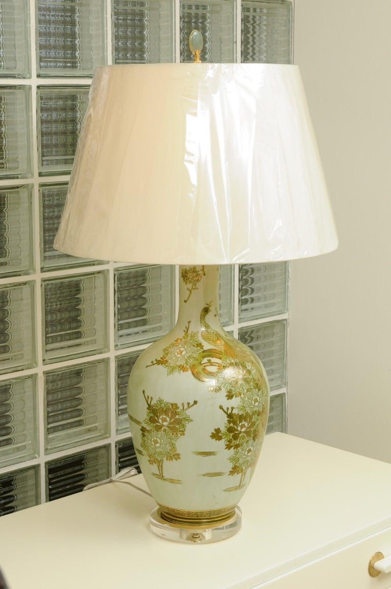 Mid-20th Century Dramatic Pair of Hand Painted Asian Lamps by Marbro, circa 1960 For Sale
