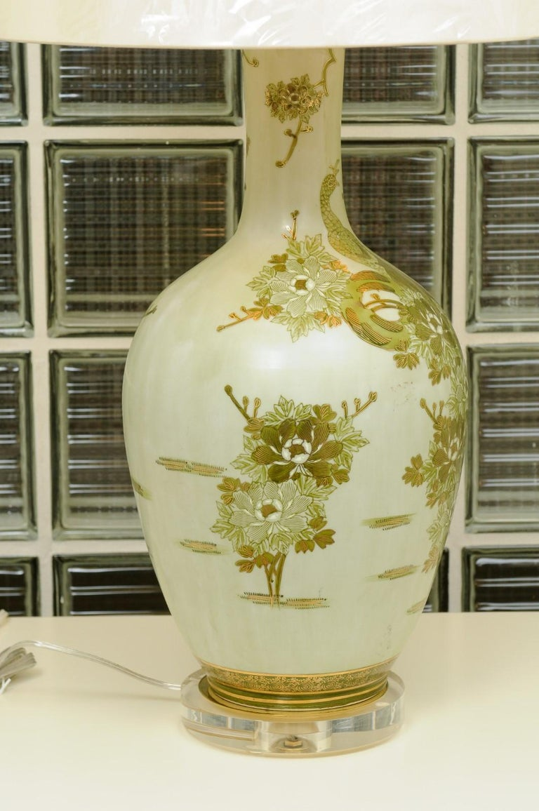 Dramatic Pair of Hand Painted Asian Lamps by Marbro, circa 1960 For Sale 1
