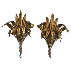 Dramatic Pair of Hollywood Regeny Gold Gilt Iron Tole Banana Leaf Wall Sconces