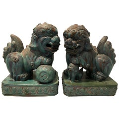 Dramatic Pair of Large Chinese Foo Dogs with Turquoise Glaze