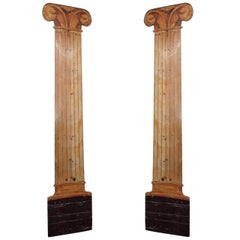 Dramatic Pair of Trompe L'Oeil Columns, 20th Century, France