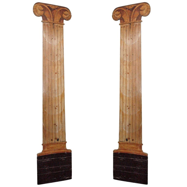 Dramatic Pair of Trompe L'Oeil Columns, 20th Century, France For Sale