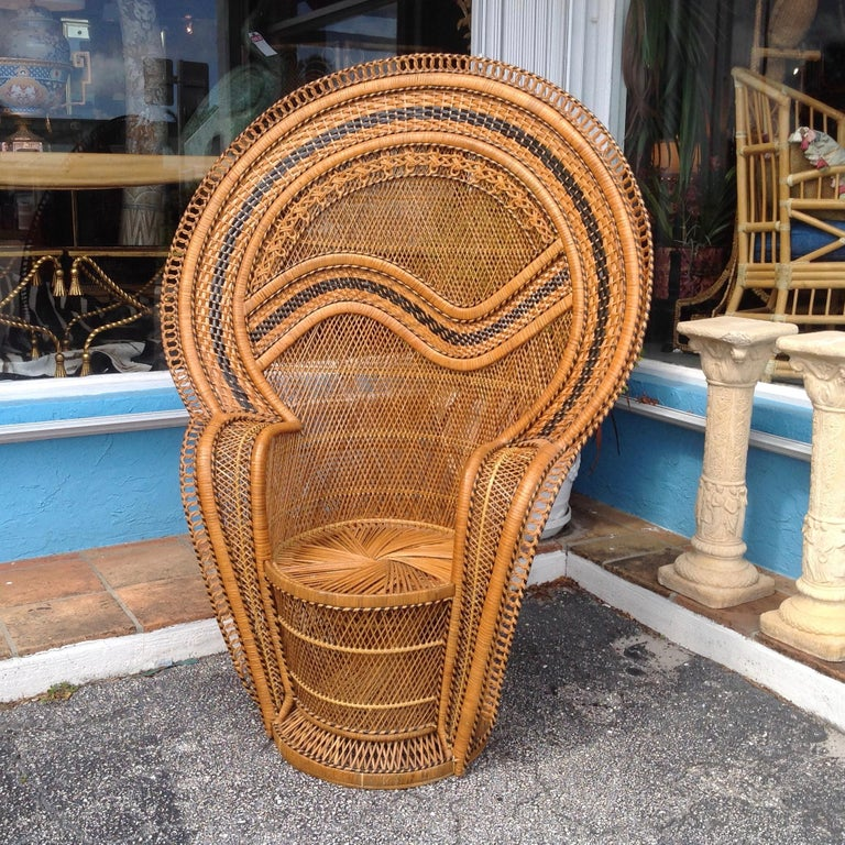 Also known as a cobra chair with stunning black accents. It is double woven on sides and backs and stands 60