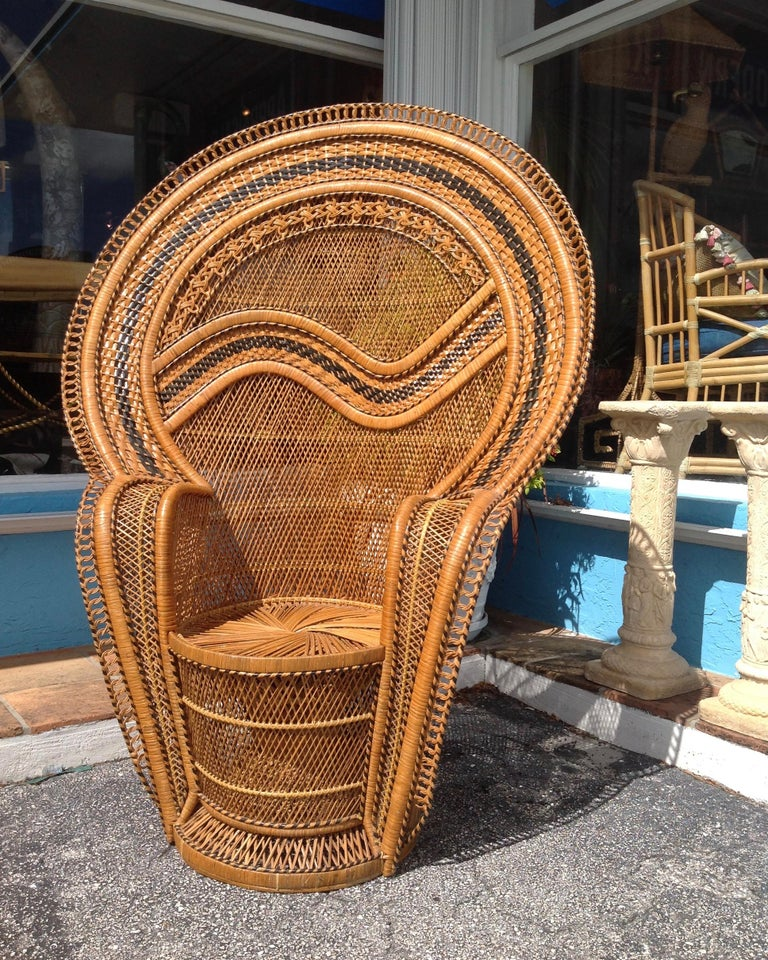 Asian Dramatic Peacock Chair For Sale