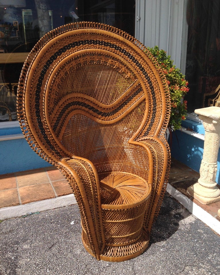Hand-Woven Dramatic Peacock Chair For Sale