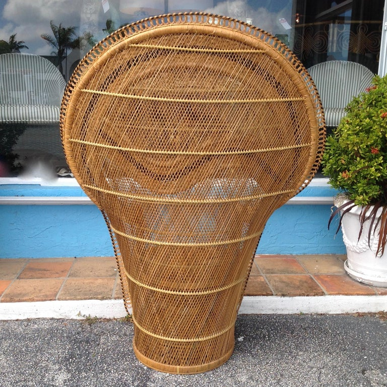Rattan Dramatic Peacock Chair For Sale