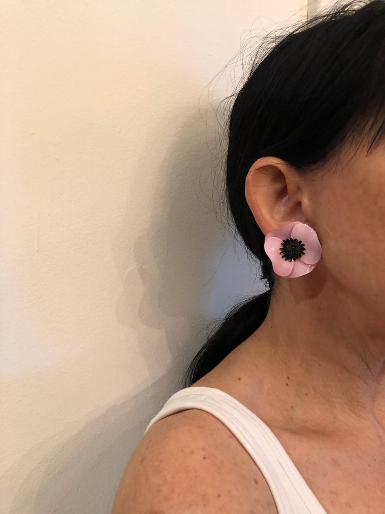 Dramatic Pink Eye Makeup: Dramatic Pink Poppy Statement Earrings For Sale At 1stdibs