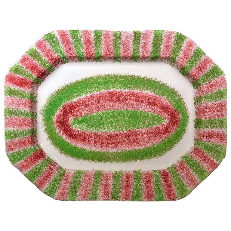 Dramatic Red and Green Large Spatterware Dish, Northern English or Scottish For Sale