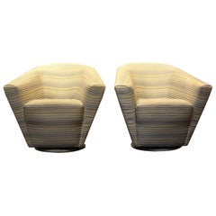 Dramatic Sculptural 1980s Swivel Club Chairs