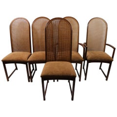 Dramatic Set of 5 High Back Dining Chairs