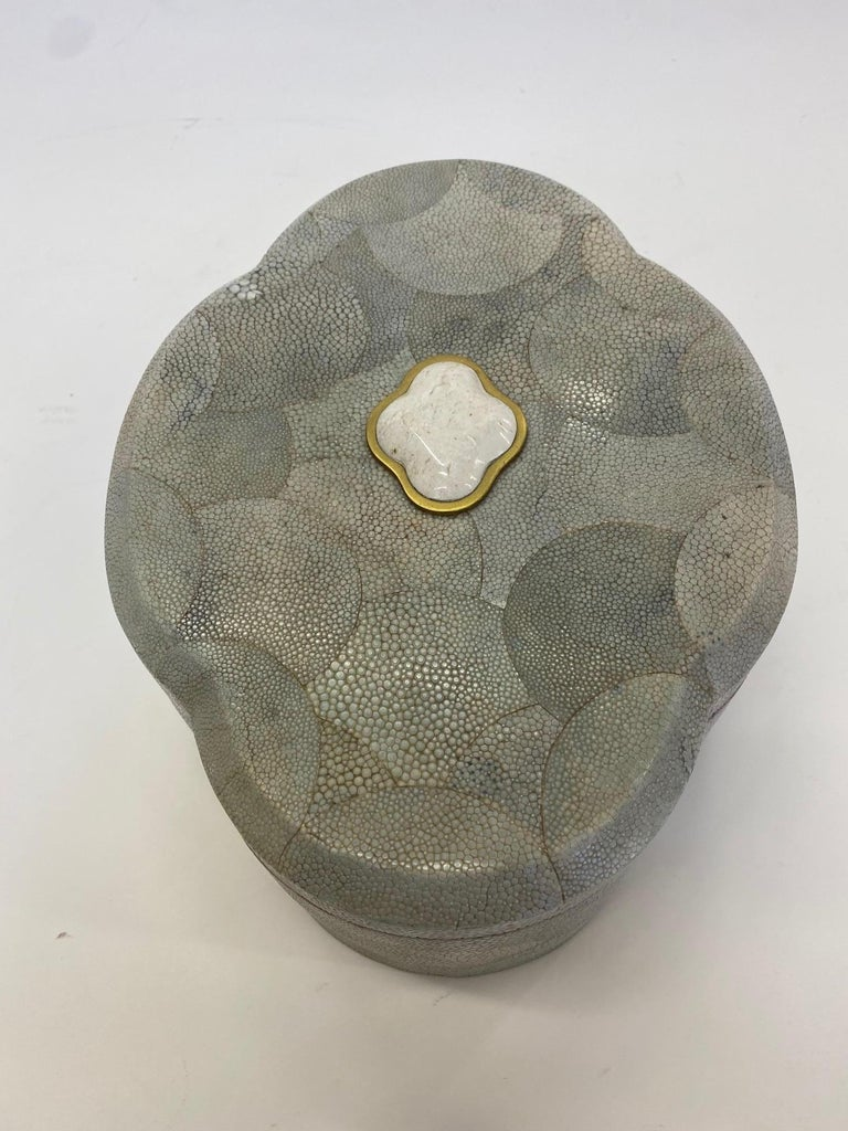 Dramatic Shagreen Lidded Treasure Box For Sale 1