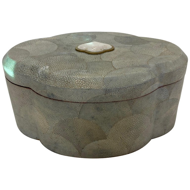 Dramatic Shagreen Lidded Treasure Box For Sale