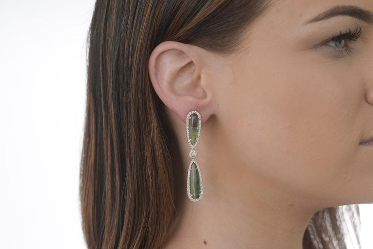 Contemporary Dramatic Tourmaline and Diamond Drop Earrings For Sale