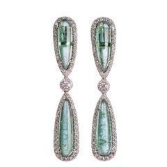 Dramatic Tourmaline and Diamond Drop Earrings
